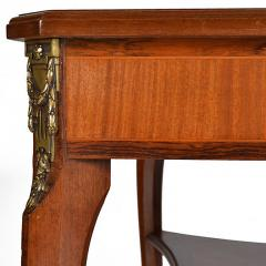 Louis XVI Style Square Two Tier Satinwood Center Table - 163794