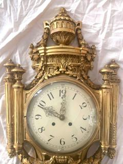 Louis XVI Style Wall Clock Gold Plate Enamel and Brass France Early 20th Century - 1488135