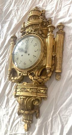 Louis XVI Style Wall Clock Gold Plate Enamel and Brass France Early 20th Century - 1488138