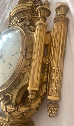 Louis XVI Style Wall Clock Gold Plate Enamel and Brass France Early 20th Century - 1488139