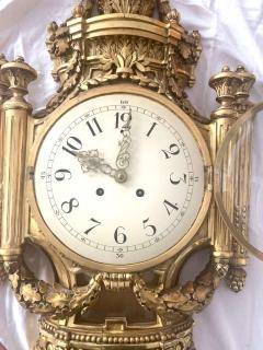 Louis XVI Style Wall Clock Gold Plate Enamel and Brass France Early 20th Century - 1488150