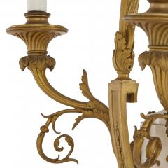 Louis XVI style marble gilt bronze and jasperware chandelier - 1451592
