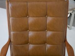 Lounge Chair with Wooden Frame and Brown Leather Cushions - 1506280