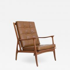 Lounge Chair with Wooden Frame and Brown Leather Cushions - 1509499