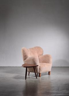 Lounge chair with lambskin upholstery 1940s - 1702416