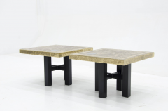 Lova Creations A pair of etched brass side tables inlaid of Labradorite stone by Lova Creation  - 789956
