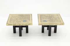 Lova Creations A pair of etched brass side tables inlaid of Labradorite stone by Lova Creation  - 789957
