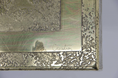 Lova Creations A pair of etched brass side tables inlaid of Labradorite stone by Lova Creation  - 789958