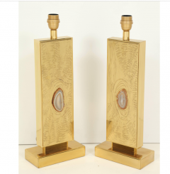 Lova Creations Pair of etched brass table lamps by Lova creation - 806263