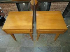 Lovely Pair of Conant Ball Maple Nightstand Tables Mid Century Modern - 1613961