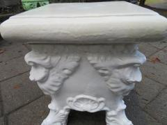 Lovely White Glazed Terra Cotta Roccoco Style Plant Side Table - 1674047