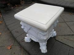 Lovely White Glazed Terra Cotta Roccoco Style Plant Side Table - 1674049