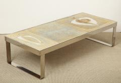 Low table with polished nickel base and cream ceramic top - 1466994