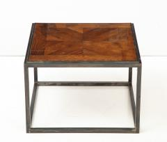 Lucca Co Made to Order Parquet Side Table on Metal Base - 993791