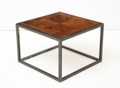 Lucca Co Made to Order Parquet Side Table on Metal Base - 993797