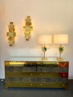 Luciano Frigerio Brass and Bronze Sideboard Dresser by Luciano Frigerio Italy 1970s - 1405328