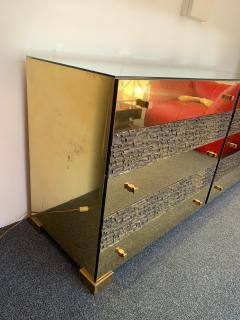 Luciano Frigerio Brass and Bronze Sideboard Dresser by Luciano Frigerio Italy 1970s - 1405334
