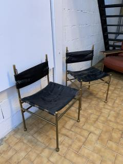 Luciano Frigerio Pair of Chair Brass and Leather by Frigerio Italy 1970s - 1696966