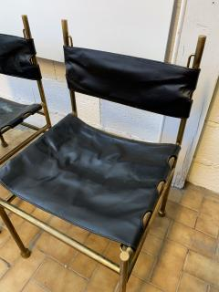 Luciano Frigerio Pair of Chair Brass and Leather by Frigerio Italy 1970s - 1696967