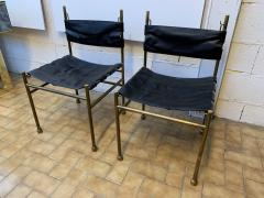 Luciano Frigerio Pair of Chair Brass and Leather by Frigerio Italy 1970s - 1696968