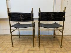 Luciano Frigerio Pair of Chair Brass and Leather by Frigerio Italy 1970s - 1696973