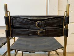 Luciano Frigerio Pair of Chair Brass and Leather by Frigerio Italy 1970s - 1696974