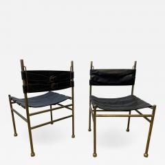 Luciano Frigerio Pair of Chair Brass and Leather by Frigerio Italy 1970s - 1698514