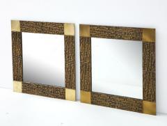 Luciano Frigerio Pair of Luciano Frigerio 1970s Bronze Mirrors - 2130168