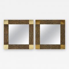 Luciano Frigerio Pair of Luciano Frigerio 1970s Bronze Mirrors - 2131975