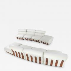 Luciano Frigerio Sectional Sofa in White Leather and Walnut Frame by Frigerio 1980s - 1322427