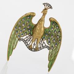 Lucien Gautrait Lucien Gautrait Art Nouveau Diamond Peacock Pendant Brooch - 717371