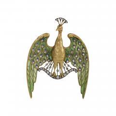 Lucien Gautrait Lucien Gautrait Art Nouveau Diamond Peacock Pendant Brooch - 718857