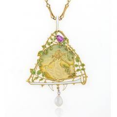 Lucien Gautrait Lucien Gautrait French Art Nouveau Gold Pendant with Sapphire Diamonds Pearl - 228553