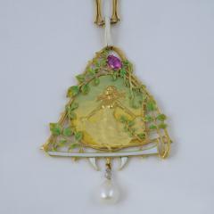 Lucien Gautrait Lucien Gautrait French Art Nouveau Gold Pendant with Sapphire Diamonds Pearl - 228554