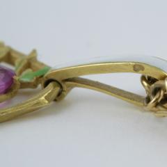 Lucien Gautrait Lucien Gautrait French Art Nouveau Gold Pendant with Sapphire Diamonds Pearl - 228556