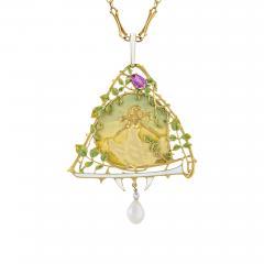 Lucien Gautrait Lucien Gautrait French Art Nouveau Gold Pendant with Sapphire Diamonds Pearl - 229209