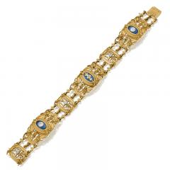 Lucien Gautrait Lucien Gautrait and Leon Gariod French Diamond Enamel Platinum and Gold Bracelet - 1020218