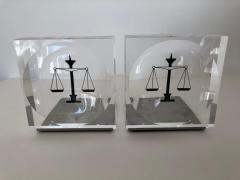 Lucite Acrylic Law Enameled Scales of Justice Book Ends - 1605594