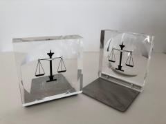 Lucite Acrylic Law Enameled Scales of Justice Book Ends - 1605596
