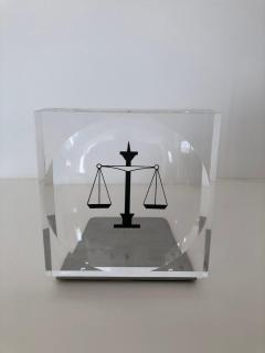 Lucite Acrylic Law Enameled Scales of Justice Book Ends - 1605597