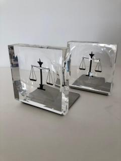 Lucite Acrylic Law Enameled Scales of Justice Book Ends - 1605598