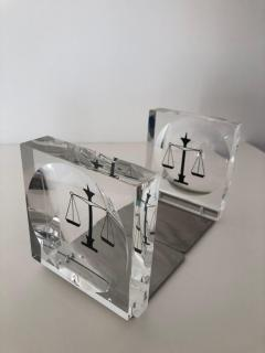Lucite Acrylic Law Enameled Scales of Justice Book Ends - 1605599