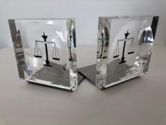 Lucite Acrylic Law Enameled Scales of Justice Book Ends - 1605612