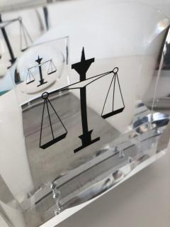 Lucite Acrylic Law Enameled Scales of Justice Book Ends - 1605613