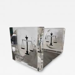Lucite Acrylic Law Enameled Scales of Justice Book Ends - 1605831
