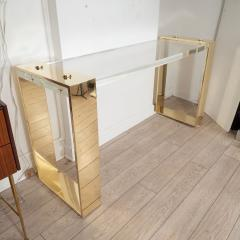 Lucite and brass console table - 1306498
