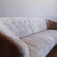 Ludvig Pontoppidan Three Seat Shearling Sofa by Ludvig Pontoppidan - 1227793