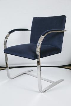 Ludwig Mies Van Der Rohe Brno Flat Bar Navy Velvet Chairs Set of 6 - 245505