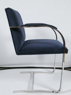 Ludwig Mies Van Der Rohe Brno Flat Bar Navy Velvet Chairs Set of 6 - 245506