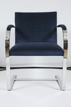 Ludwig Mies Van Der Rohe Brno Flat Bar Navy Velvet Chairs Set of 6 - 245507